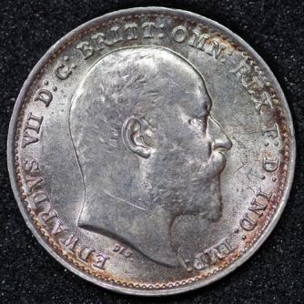 1908 Edward VII Silver Threepence Obv