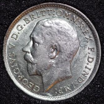 1912 George V Silver Threepence Obv