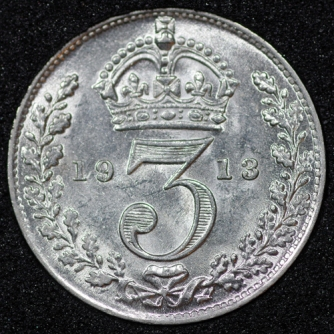 1913 George V Silver Threepence Rev