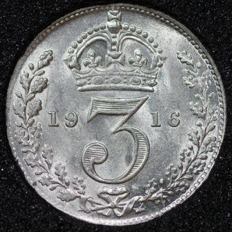 1916 George V Silver Threepence Rev