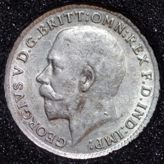 1917 George V Silver Threepence Obv