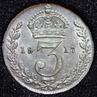 1917 George V Silver Threepence Rev