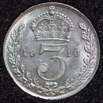 1918 George V Silver Threepence Rev