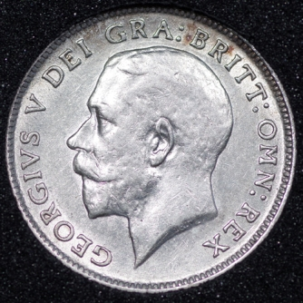 1919 George V Sixpence Obv