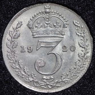 1920 George V Silver Threepence Rev