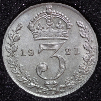 1921 George V Silver Threepence Rev