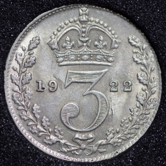 1922 George V Silver Threepence Rev