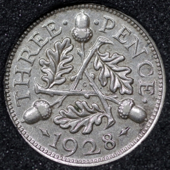 1928 George V Silver Threepence Rev