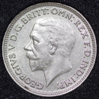 1929 George V Sixpence Obv