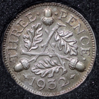 1932 George V Silver Threepence Rev