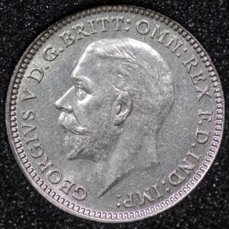 1934 George VI Silver Threepence Obv