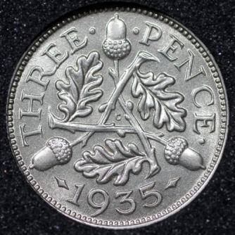 1935 George VI Silver Threepence Rev