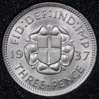 1937 George VI Silver Threepence Rev