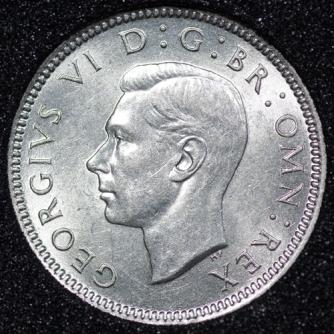 1937 George VI Sixpence Obv