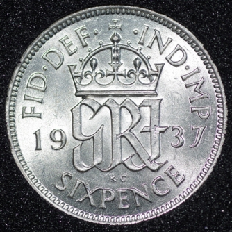 1937 George VI Sixpence Rev