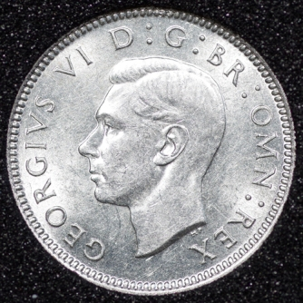 1938 George VI Sixpence Obv