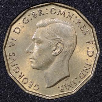 1938 George VI Threepence Obv