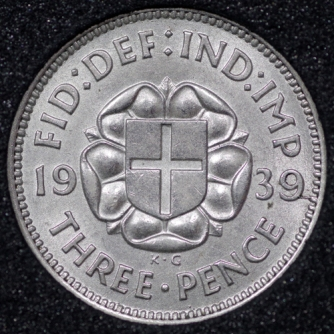 1939 George VI Silver Threepence Rev