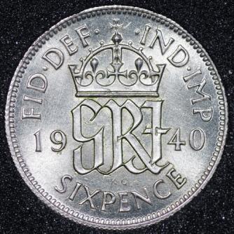 1940 George VI Sixpence Rev