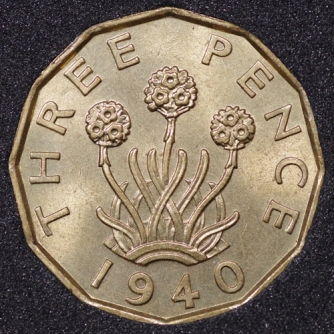 1940 George VI Threepence Rev
