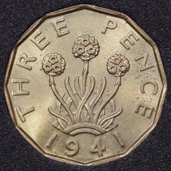 1941 George VI Threepence Rev