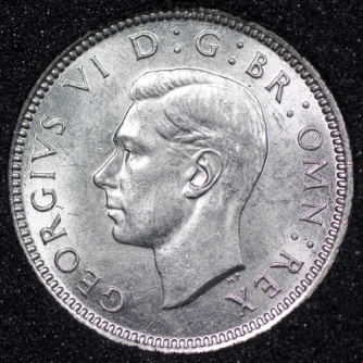 1942 George VI Sixpence Obv
