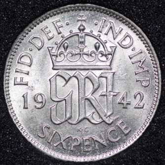 1942 George VI Sixpence Rev
