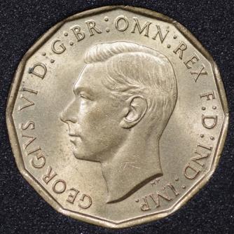 1942 George VI Threepence Obv