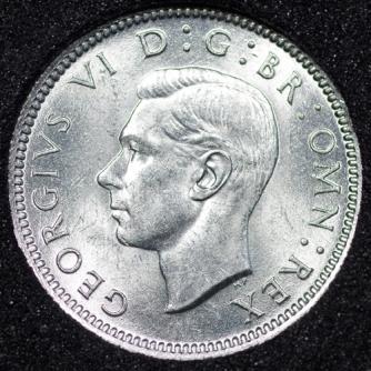 1945 George VI Sixpence Obv