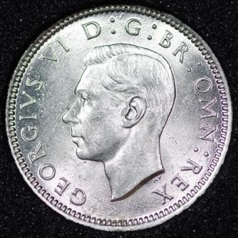 1946 George VI Sixpence Obv