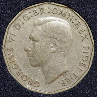 1949 George VI Threepence Obv