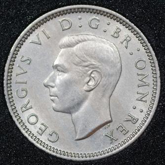 1950 George VI Sixpence Obv