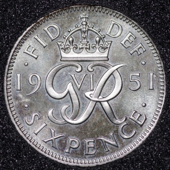 1951 George VI PROOF Sixpence Rev