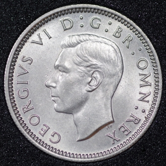 1951 George VI Sixpence Obv