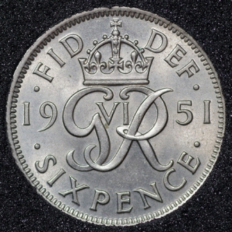1951 George VI Sixpence Rev
