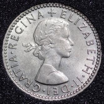1955 Elizabeth II Sixpence 1+B Obv