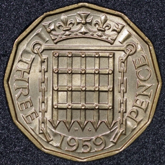 1959 Threepence Rev