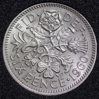 1960 Elizabeth II Sixpence Rev