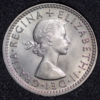 1962 Elizabeth II Sixpence Obv
