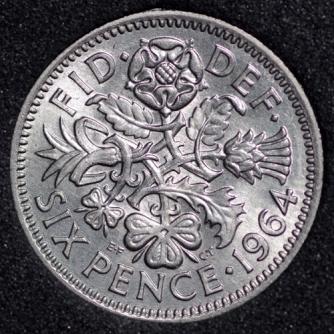 1964 Elizabeth II Sixpence 3+C Rev