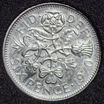 1970 Elizabeth II PROOF Sixpence Rev