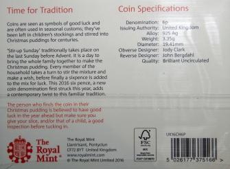 Royal Mint 2016 Christmas Sixpence Packaging Rev
