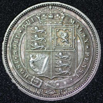 1887 Victoria Withdrawn Type Sixpence Rev