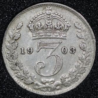 1903 Edward VII Silver Threepence Rev