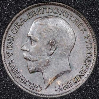 1912 George V Farthing DARKENED Obv