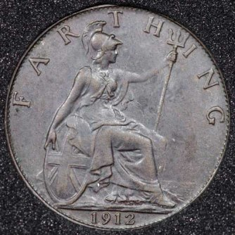 1912 George V Farthing DARKENED Rev