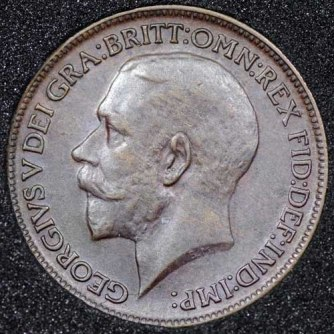 1913 George V Farthing DARKENED Obv