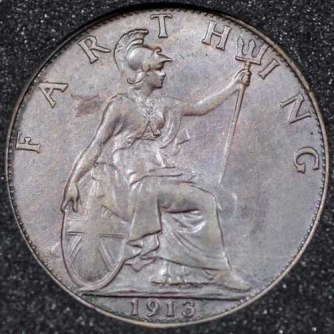 1913 George V Farthing DARKENED Rev