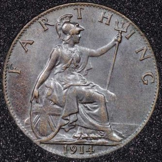 1914 George V Farthing DARKENED 2+A Rev