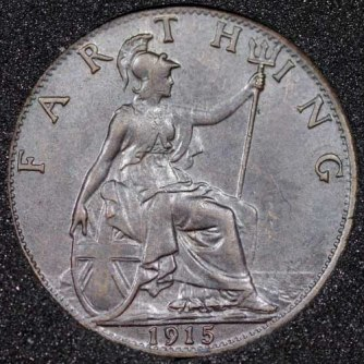 1915 George V Farthing DARKENED Rev